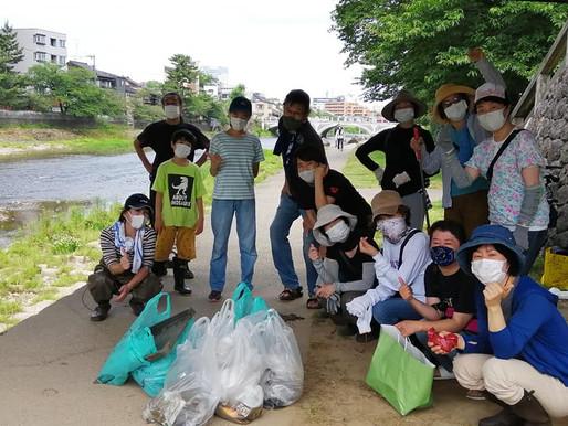 本日(6月12日)W・・・川清掃と三日月あかり祭