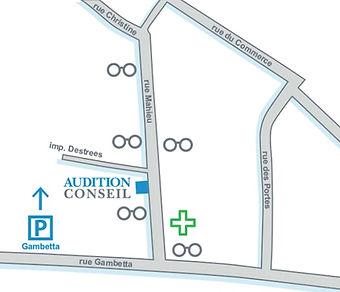 Plan d'accès Audition Conseil Chebourg