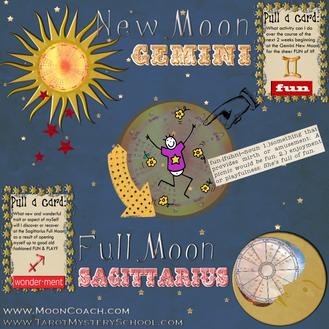 GEMINI New Moon + SAGITTARIUS Full Moon 2016:  A Lighthearted Astro-Tarot Spread
