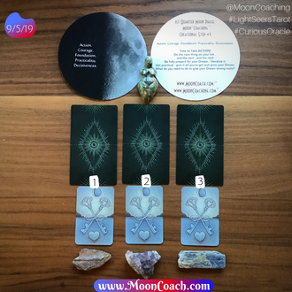 MoonCoaching™ AstroTarotOlogy™ :  Pick-A-Card for Sagittarius 1st Quarter Moon Phase in the Virgo Ne