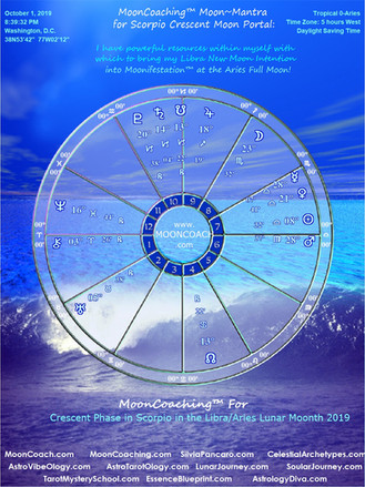 MoonCoaching™ and AstroTarotOlogy™:  Step 2/Crescent Moon Phase in Scorpio (in Libra Lunar Moonth) 1