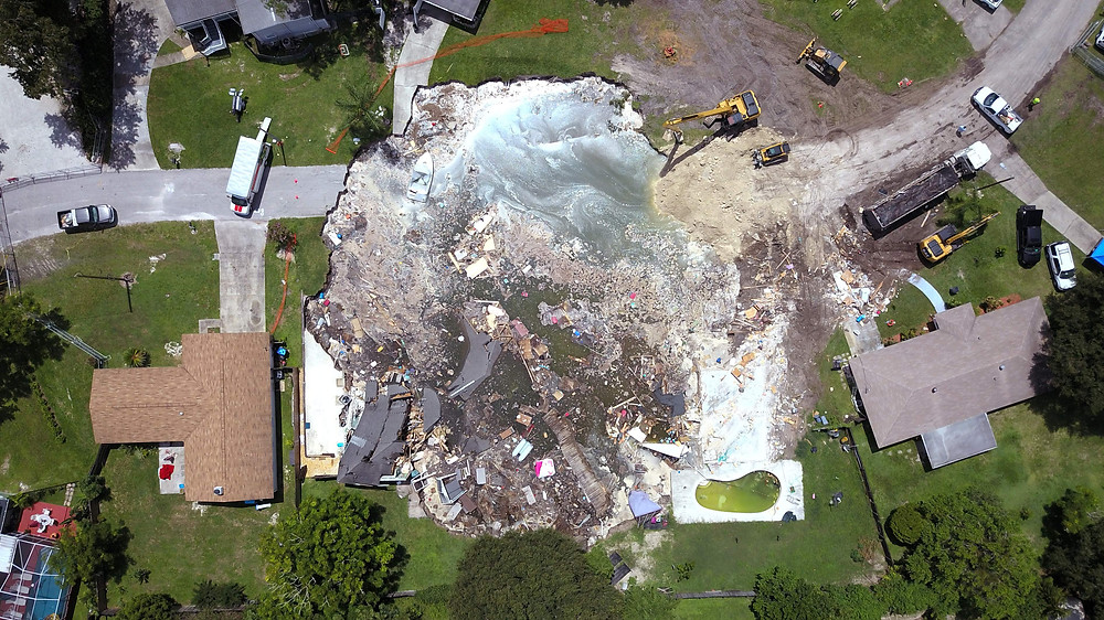 Aerial view of Land O Lakes Sinkhole