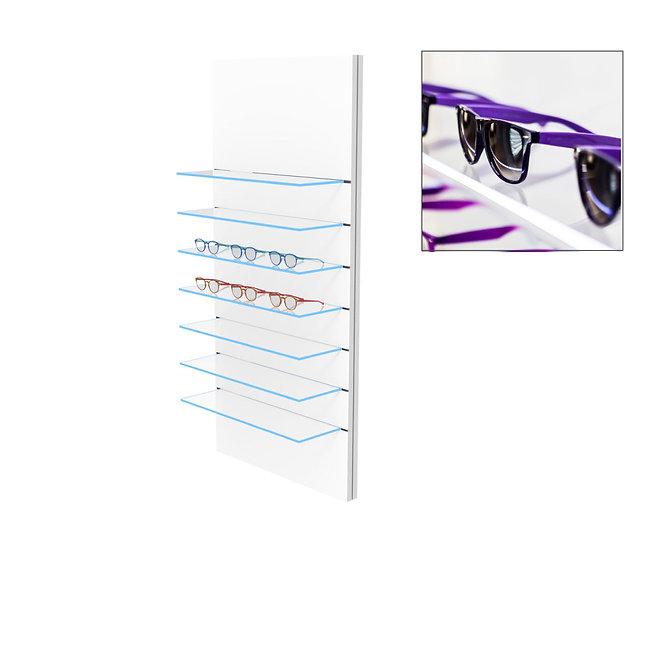 Présentoir WSG avec 7 étagères en verre clair, 21 montures.