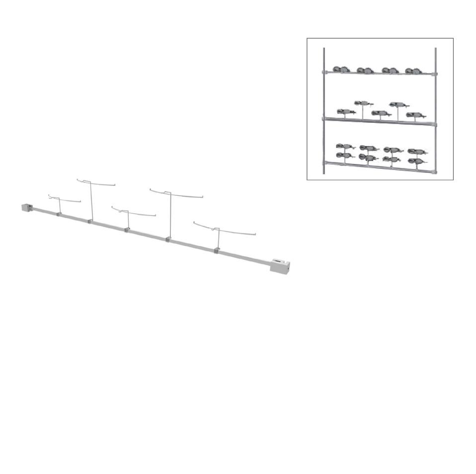 Colonne horizontal avec 5 supports de montures