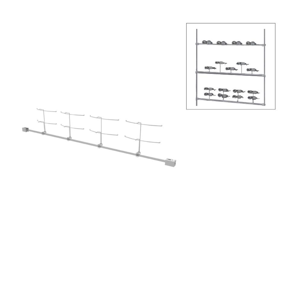Colonne horizontal avec 8 supports de montures