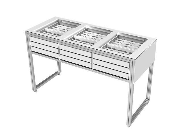 Table vitrine SC.T avec 18 tiroirs