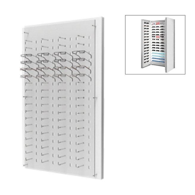 Présentoirs WP avec un plaque en acrylique transparente de 72 montures avec stockage 3 à l'arrière.