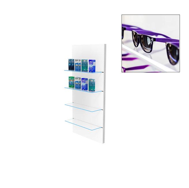 Présentoir WSG avec 4 étagères en verre clair moyen.