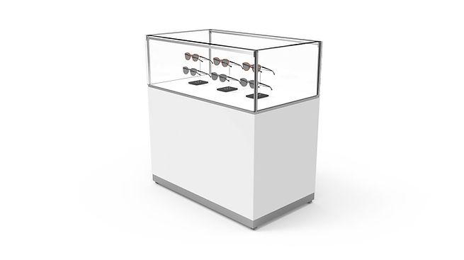 Comptoir avec boite en verre, étagère SC