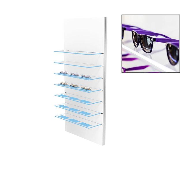 Présentoir WSG avec 2 étagères en verre clair et 5 étgères en verre gravées, 21 montures.