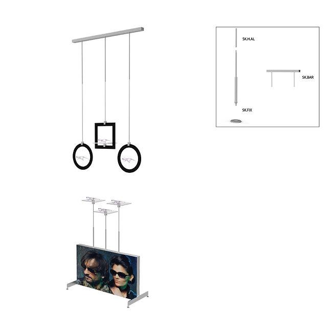 Présentoir de vitrine SKS avec 3 étagères en acrylique et 3 cadres décoratifs différents. Disponible en noir ou en blanc. Panneau publicitaire sans publicité.