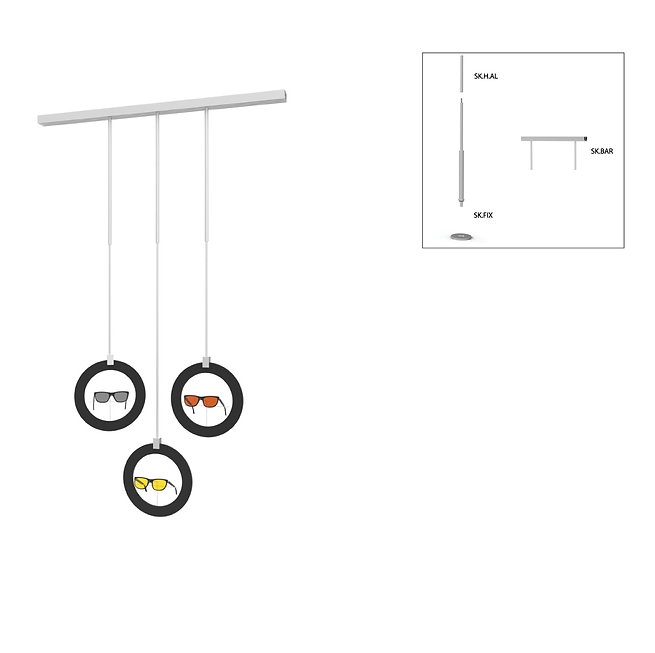 Présentoir de vitrine SKS avec 3 cadres rondes décoratifs avec supports de monture.