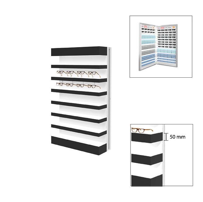 Présentoir Quadro Slim 7 étagères 28 montures avec stockage 2 à l'arrière