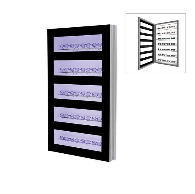 Présentoir WD avec 5 étagères et 5 barres.