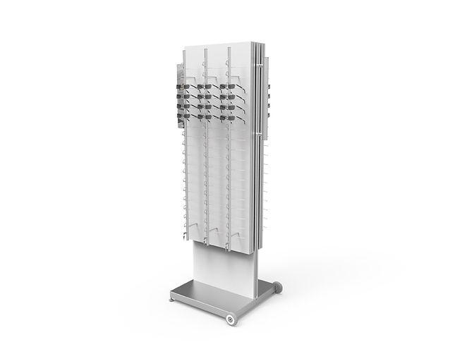 Présentoir autonome WD avec 6 colonnes verrouillable  RR.MC.18 et 2 rangements WD1.
