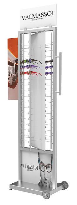 Présentoir autonome FR 4 colonnes RR.MC ouverte avec plaque tournante