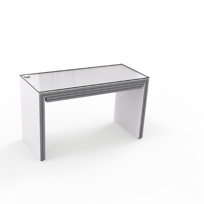 Table de vente TF avec plaques latérales et 2 tiroirs intégrés. Cadre en aluminium, plan de travail en verre satiné.