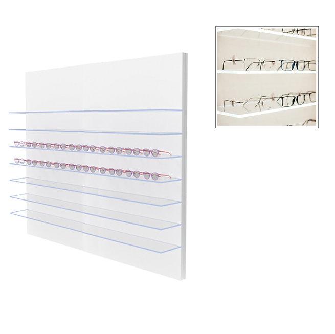 Présentoir POL avec 7 étagères en verre clair, 70 montures.