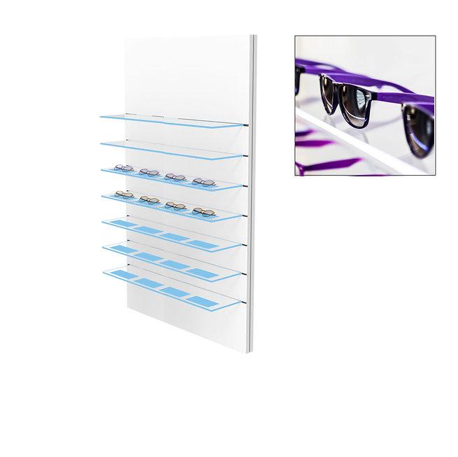 Présentoir WSG avec 2 étagères en verre clair et 5 étagères en verre gravées, 28 montures.