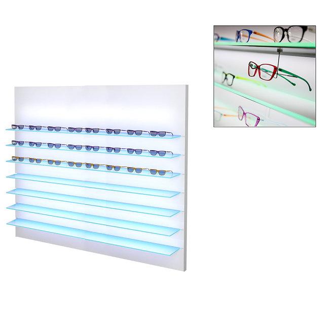 Présentoir WSBG avec 7 étagères en acrylique, 70 montures.