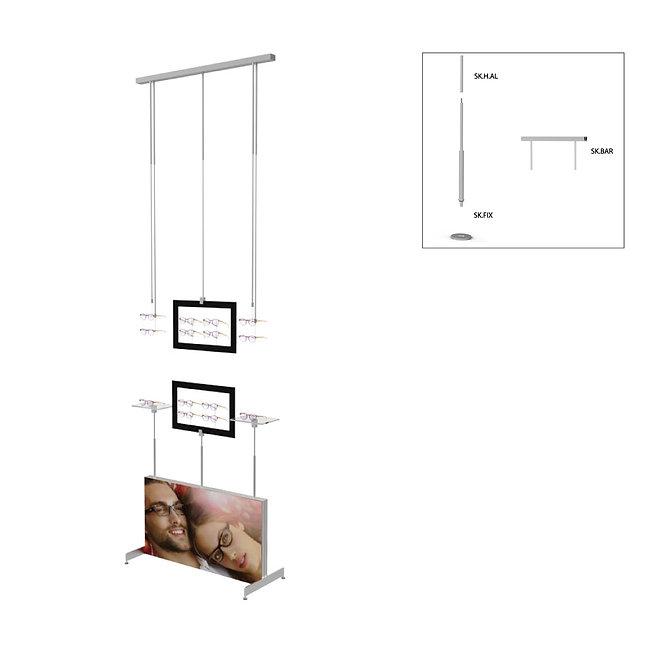Présentoir de vitrine SKS avec 2 étagères en acrylique, 2 cadres décoratifs et 4 supports de monture.