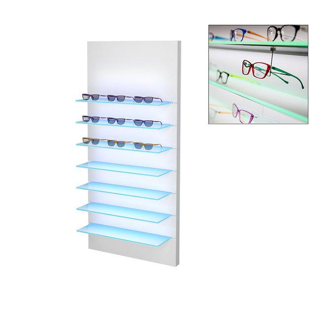 Présentoir WSBG avec 7 étagères en acrylique, 28 montures.