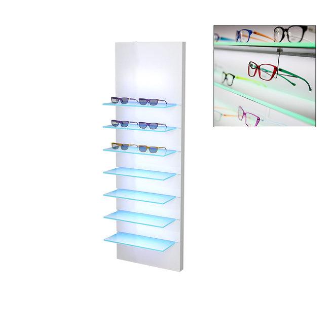 Présentoir WSBG avec 7 étagères en acrylique, 14 montures.