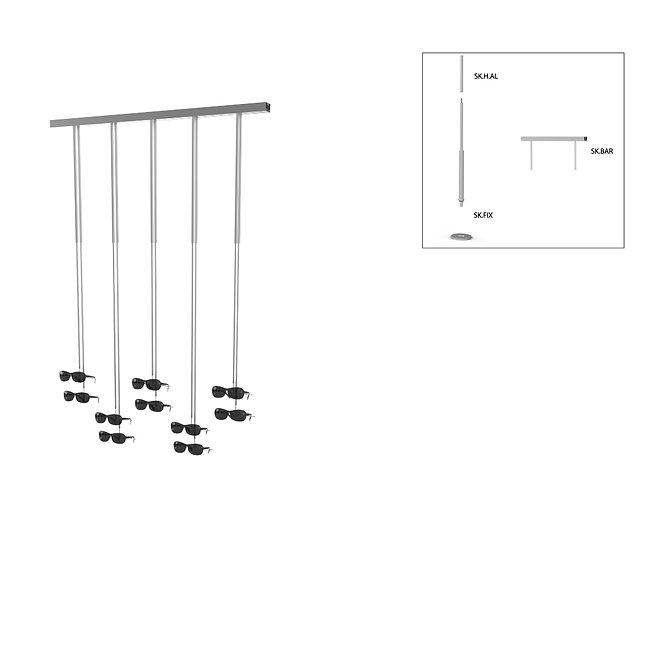 Présentoir de vitrine SKS avec 10 supports de montures