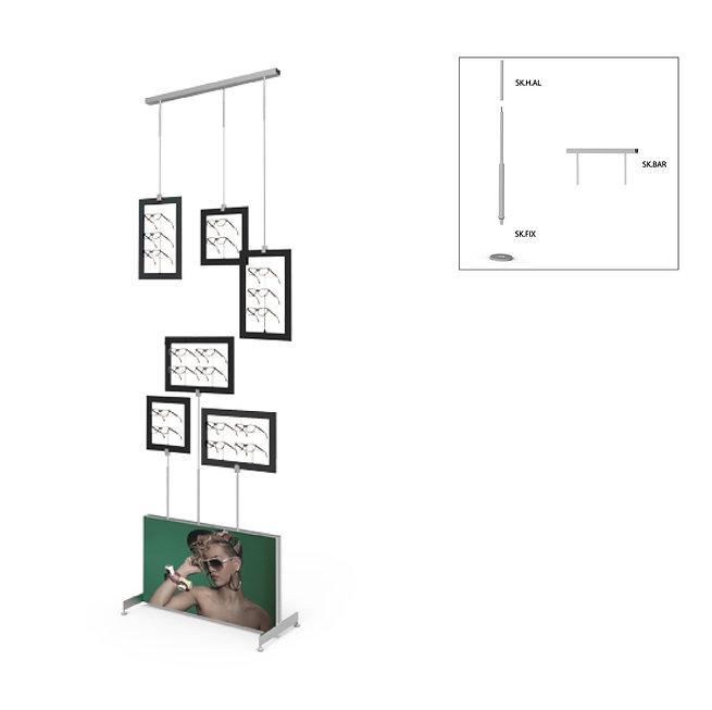 Présentoir de vitrine SKS avec 6 cadres décoratifs avec supports de montures