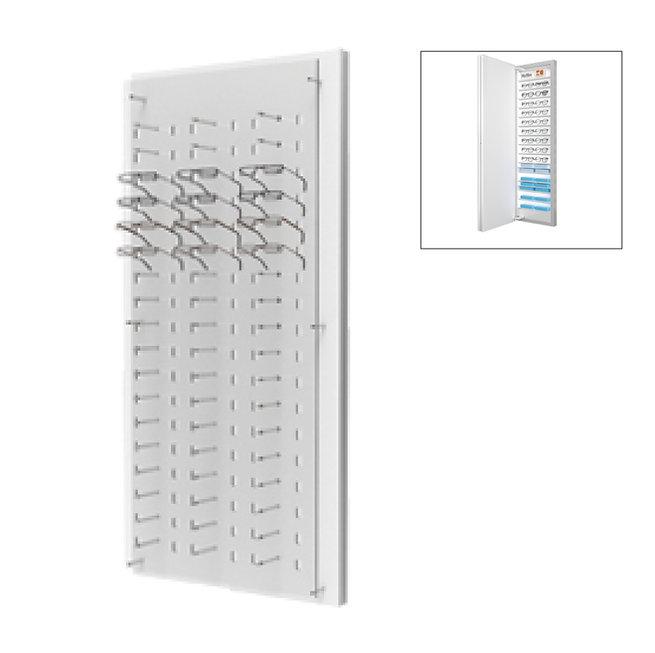 Présentoirs WP avec un plaque en acrylique transparente de 54 montures avec stockage à l'arrière.