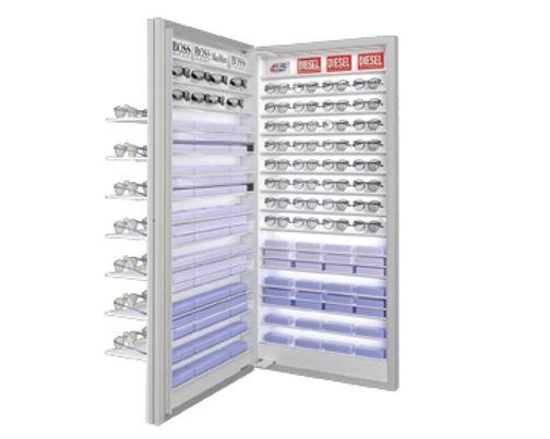 Présentoir avec 7 étagère VIVIDIA 35 montures avec éclairage inferieur + stockage 2 à l'arrière