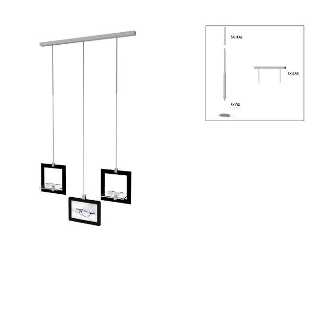 Présentoir de vitrine SKS avec 2 cadres décoratifs avec 2 étagères en acrylique et tablette.