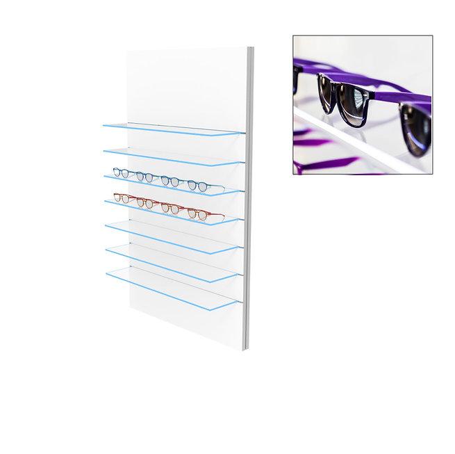 Présentoir WSG avec 7 étagères en verre clair, 28 montures.