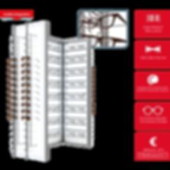 Présentoir 4 colonnes avec rangement à l'arrière