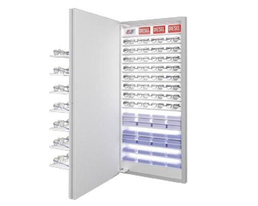 Présentoir avec 7 étagère VIVIDIA 35 montures avec éclairage central + stockage à l'arrière
