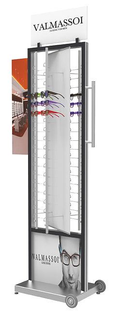 Présentoir autonome FR 4 colonnes RR.MC verrouillable avec plaque tournante