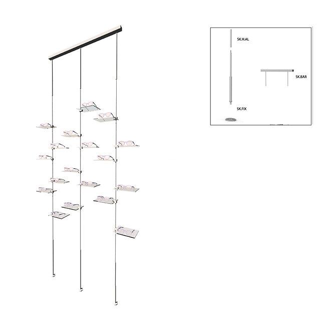 Présentoir de vitrine SKS avec 18 étagères latérale en acrylique