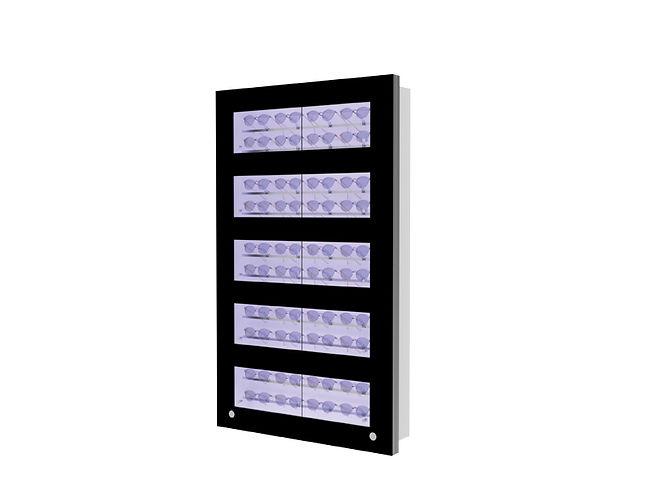 Présentoir WCL2 avec 7 ouvertures et 7 barres lockable, 28 montures
