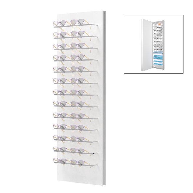 Présentoirs WH avec 13 colonnes 26 montures avec stockage à l'arrière.
