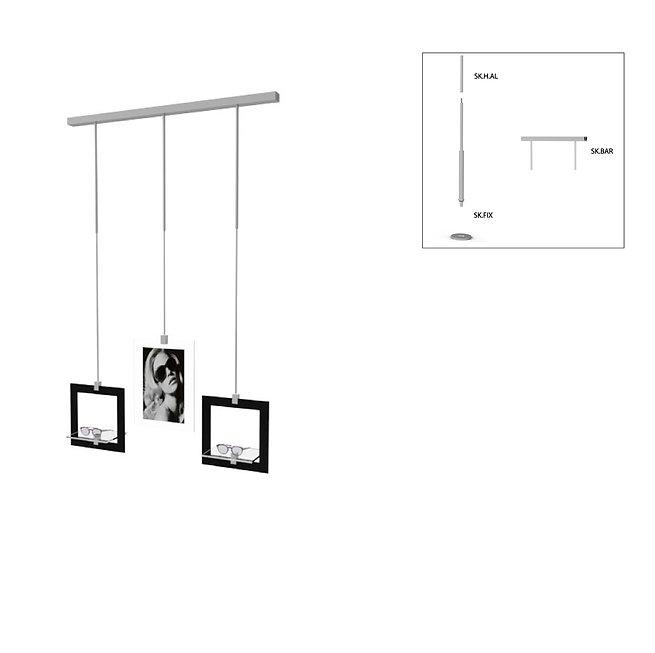 Présentoir de vitrine SKS avec 2 cadres décoratifs avec 2 étagères en acrylique et publicité