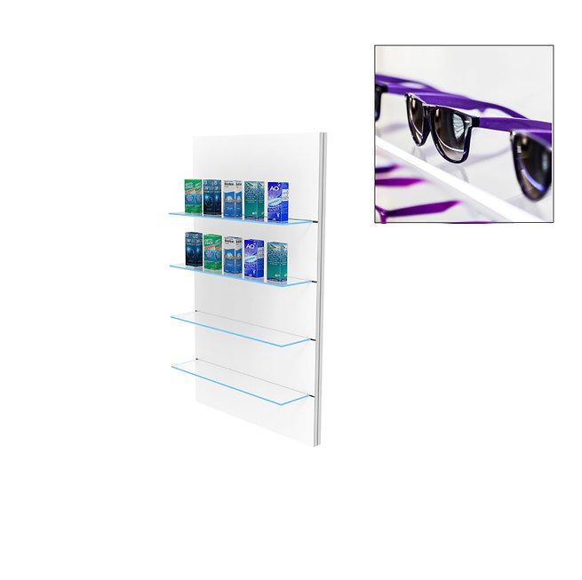 Présentoir WSG avec 4 étagères en verre clair grand.