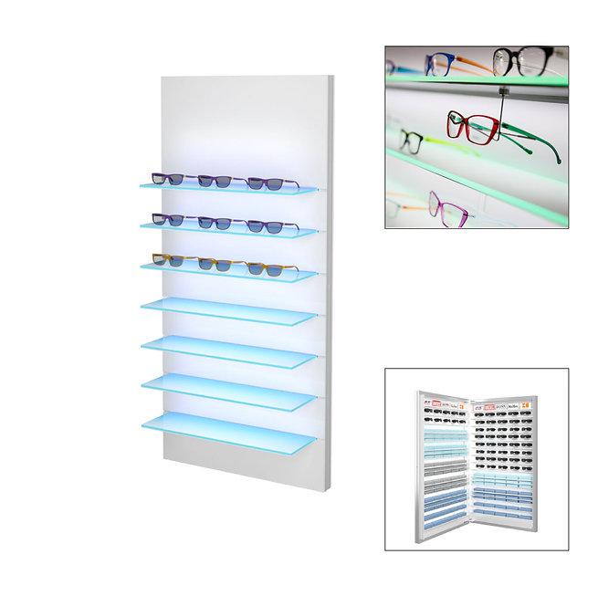 Présentoir WSBG avec 7 étagères en acrylique, 28 monturesavec stockage 2 à l'arrière.