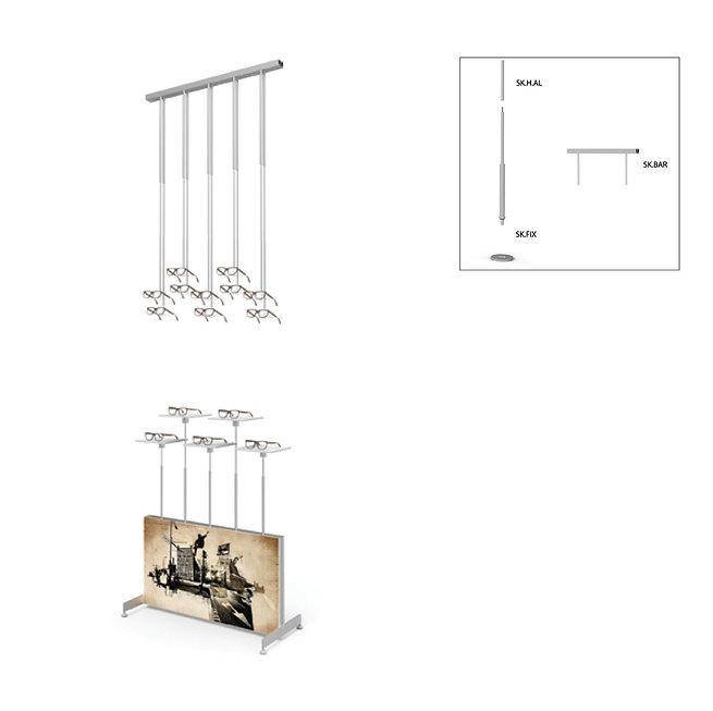 Présentoir de vitrine SKS avec 10 cadres décoratifs avec 5 étagères en acrylique. Panneau publicitaire sans publicité