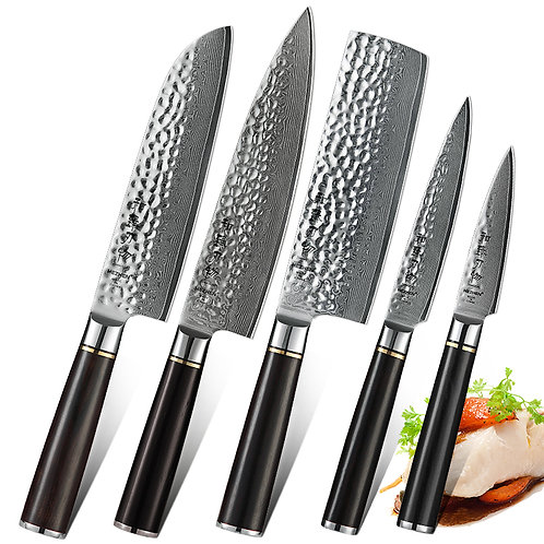 5 Pc. HEZHEN Knife Set with Premium Ebony Handle