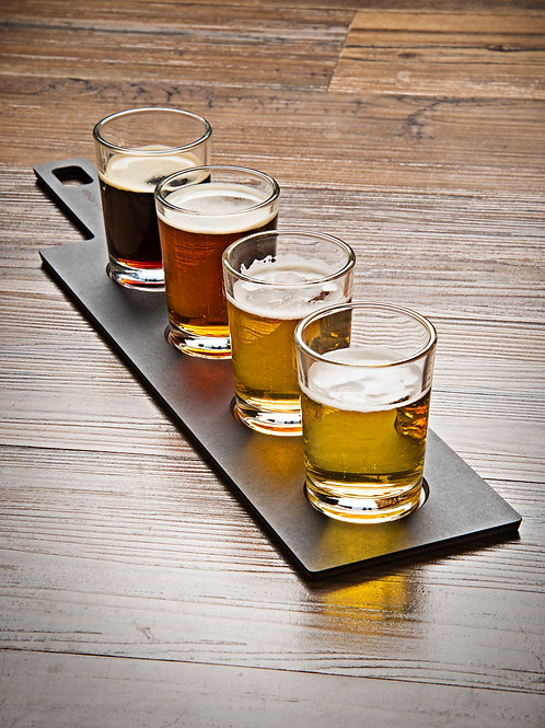 Epicurean Flight Server with 4 Glasses - Slate/Nutmeg