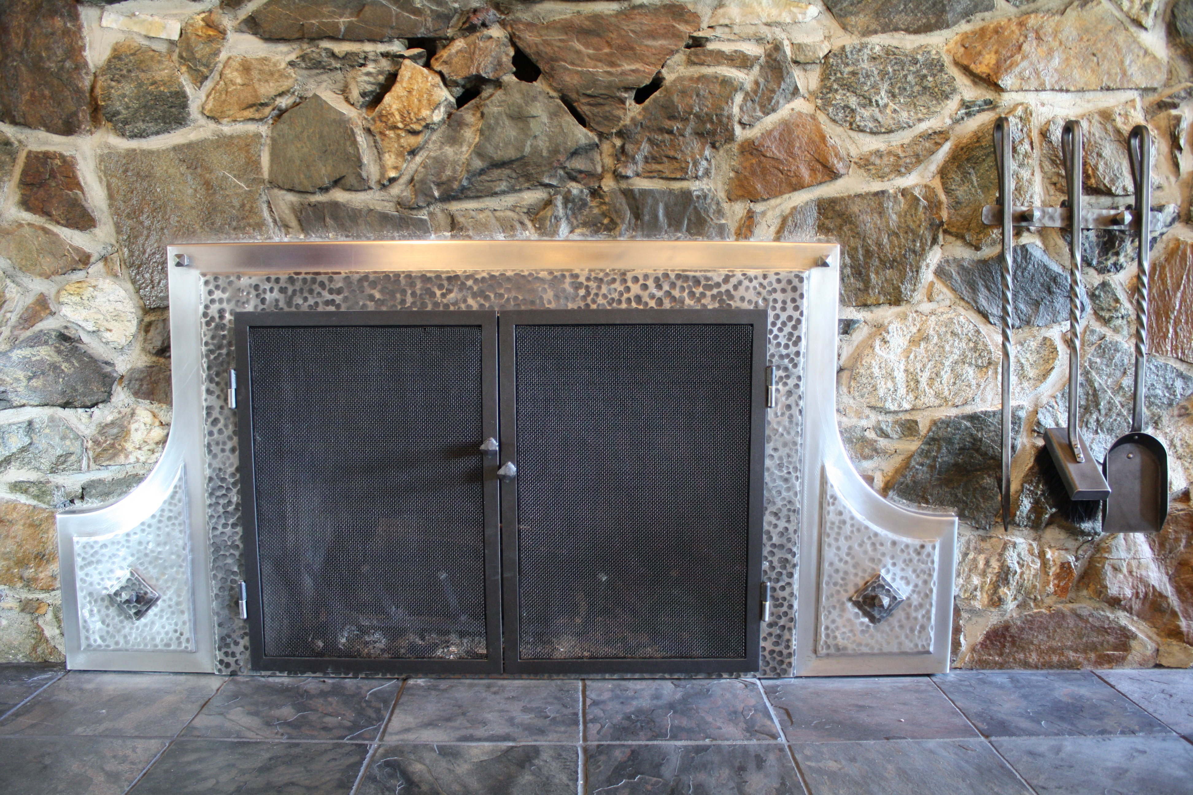 Hand Forged Fire Place Doors and Tools