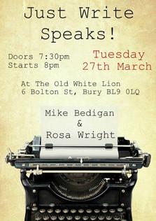 Just Write Speaks - March 2018
