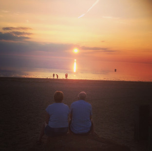 sunset on snettisham beach