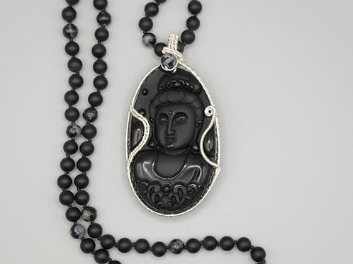 Carved Onyx Buddha on hand knotted chain