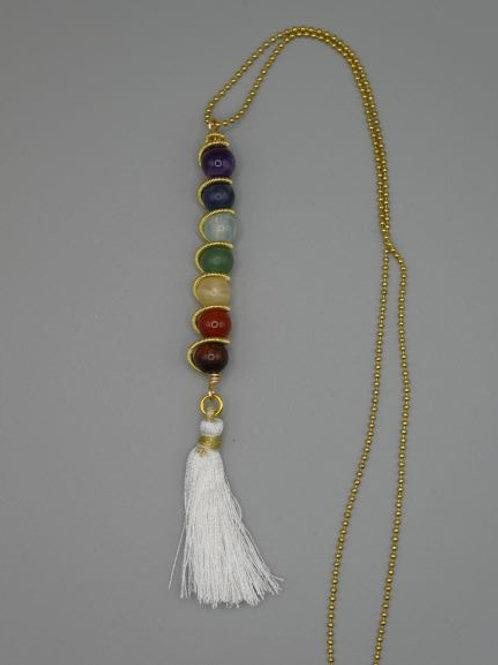 Chakra stick pendant with tassel